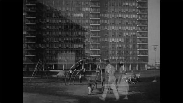 1950s: Crane tears building down. High-rise apartment building. Children in playground. Man and woman walk across campus. Nurse sits at table in front of seated women.