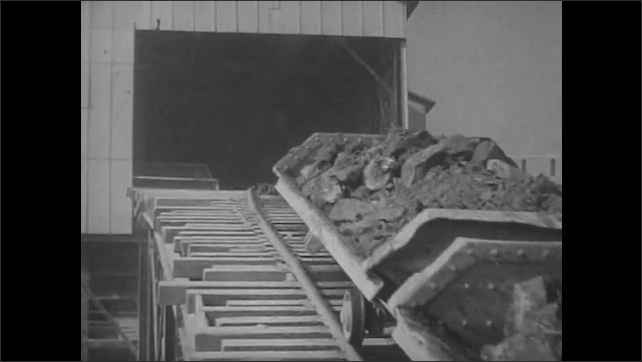 1950s: Hands pull apart asbestos. Conveyor carts carry asbestos from shaft into factory. Machine separates asbestos from rock. Man installs brake lining to car. Hands assemble heat lining sheets.