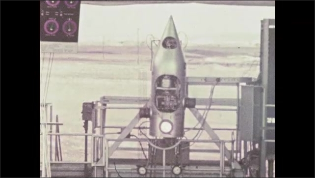 1960s: UNITED STATES: engines and thrust on test stand. Gimbled outboard engine controls thrust. Stabilisation of spacecraft.