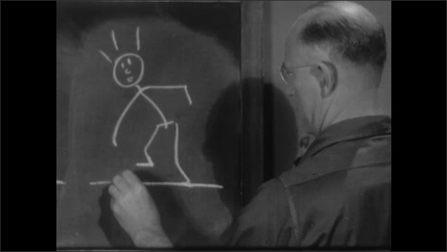 1940s: Boy and girl stand looking at man in front of chalkboard. Boy lifts foot to look at bottom of shoe. Man draws on chalkboard. Boy draws on chalkboard.