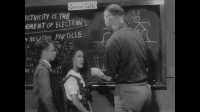 1940s: Girl approaches chalkboard where man and boy stand and begins drawing on it. Man adds to her drawing on chalkboard.