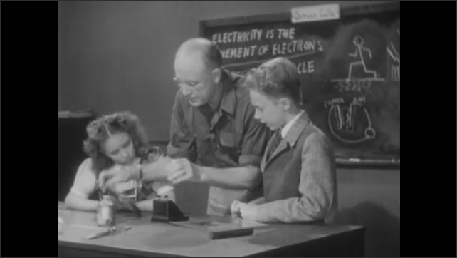 1940s: Screen covers magnet on desk with black powder spread in pattern over screen. Girl, man and boy stand at desk. Man attaches wires to meter. Man presses button on meter.