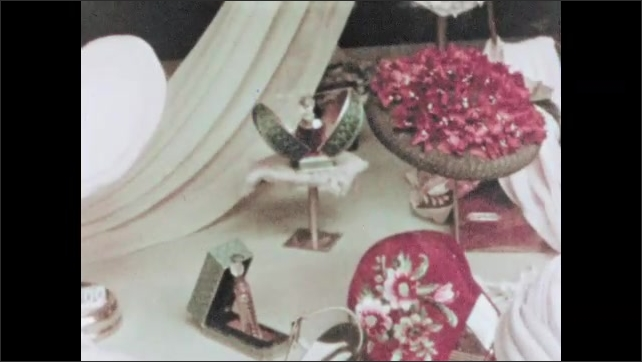 RUSSIA 1960s: goods for sale in Russian store. Shoe in window for sale. Fashion for sale in shop window. Abacus used in store