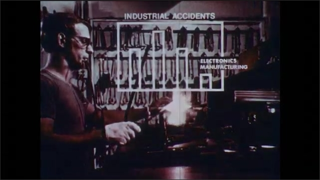 1970s: Man uses industrial torch on piece of metal. Chart shows frequency of accidents. Girl