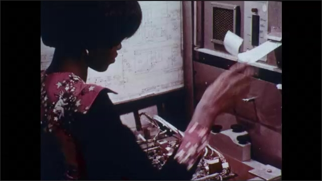 1970s: Woman assembles electronic device. Woman holding screwdriver receives piece of paper from printer, rolls paper up and places in circuit board compartment.