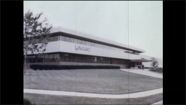 1970s: Men at computers.  Car dealership.  Amusement park rides.  Men in workshop.  Univac building.  General Electric building.  Department of transportation.  Hospital.  Pentagon.  Air Force base.