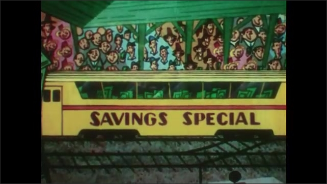 1950s: UNITED STATES: crowd of people by train on tracks. Savings Special train. Money travels on train.