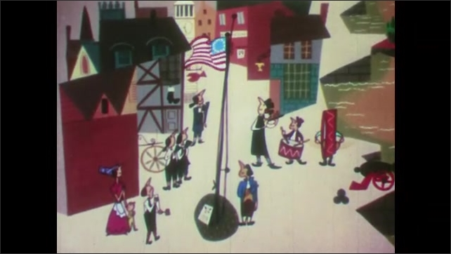 1950s: UNITED STATES: people march with American flag. Man plays music by flag and pole. People arrive in America. Freedom of choice.