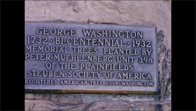 1950's: Rustic sign for Green Brook Park; George Washington Bicentennial marker and memorial trees.