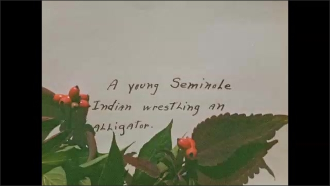 """1940s: Woman plays with colorful parakeet. Homemade intertitle reads """"From one talking machine to another;"""" many alligators swim in watery trench."""