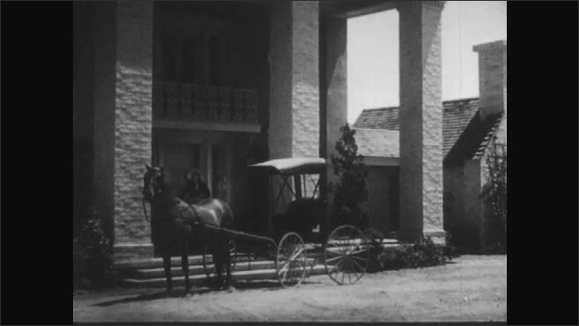 1940s: men talk and tuck away paperwork in their coats as sailor gets escorted off deck of navy ship by officers in uniform. woman and guy step out from house and board horse and carriage in driveway.