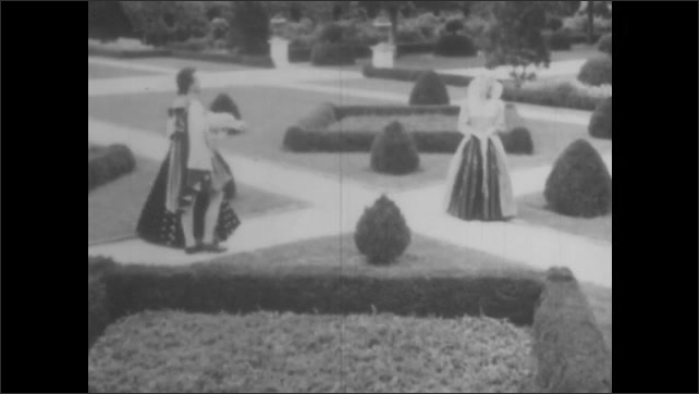 1950s: VIRGINIA, UNITED STATES: ship at sea. People in garden at court. Queen receives John Roth and wife Rebecca.