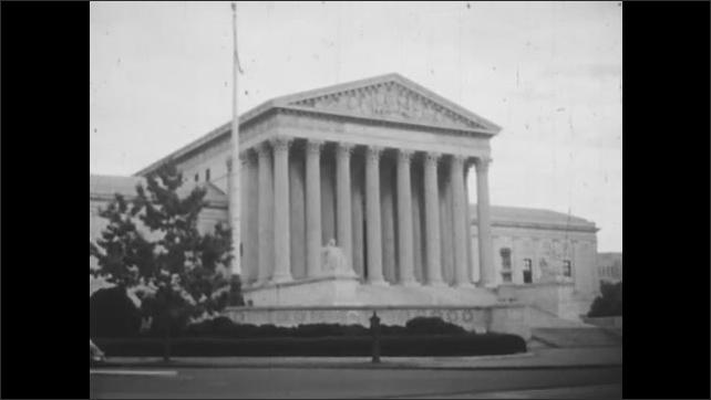1950s: Congressional building in Washington DC. Surpreme Court building.