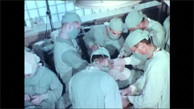 1960s: Man adjusts equipment in dark room, woman types, man looks through stereoscope, surgeons in operating room, fireman drives truck, policeman radios. Boy looks up, looks pensive, writes.