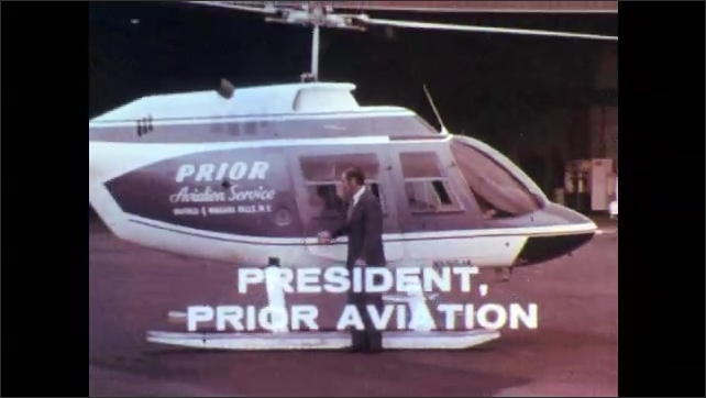 1960s: Man opens yearbook. Yearbook headshot. Man stands in front of helicopter, walks away, greets two men.