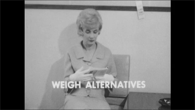 1960s: UNITED STATES: Don't Expect Perfection title. Baseball players on field. Consider Only Important Differences title. Weigh Alternatives title. Lady sits in office waiting room.