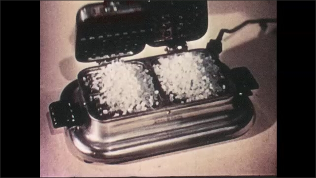 1940s: White plastic particles dumped into waffle iron. Waffle Iron closed. Waffle iron opened to reveal plastic in waffle shape.