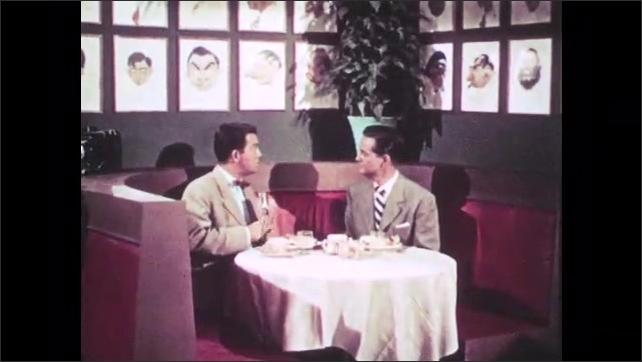 1950s: UNITED STATES: men sit at restaurant table. Girl in brochure. Men leave restaurant. Man picks up camera