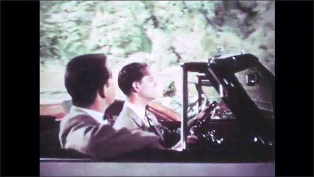 1950s: UNITED STATES: lady drives open top car. Cars pass on road. Side view of men in car. Cars race on road
