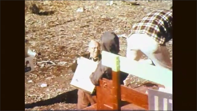 1960s: Passerby's stop to help gather and remove litter. Children help pick up litter at school.