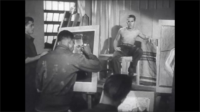 1940s: Man draws portrait on easel. Room of men draw portrait of live male model posed. Rows of men repair machine parts as occupational therapy.