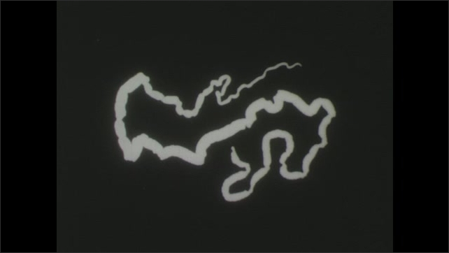 1940s: Diagram of person with intestines indicated, tapeworm develops rapidly, grows long, and fills intestines.  Long ribbonlike tapeworm in strobila stage.
