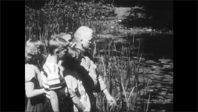 1950s: Man guides group of children through field to pond, man points at pond, talks. Lily pads and pond reeds.