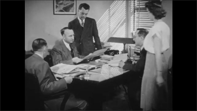 1940s: View over shoulder, woman typing on typewriter. High angle, hands puts punchcards into machine. Men working at desk, woman enters, takes papers.