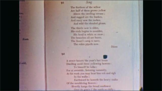 1950s: Hands open poetry book. Hands flip through pages of book. Poetry text on book page.