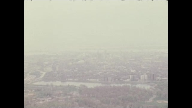 1970s: UNITED STATES: misty view from cabin. View towards coast.