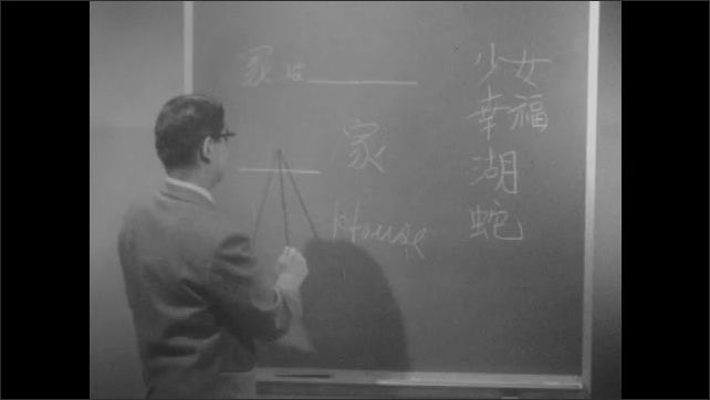 1960s: People around table, man talking in front of chalkboard. Man writing on chalkboard.