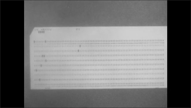 1960s: Close up of computer punch card.