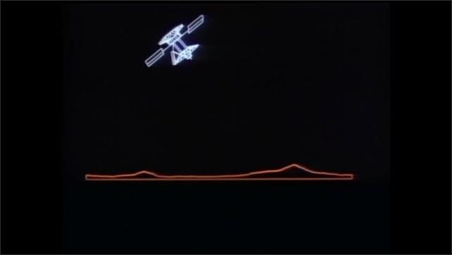 1990s: Night sky.  Spacecraft flies near planet.  Animation shows craft using radar.  Topographic map.