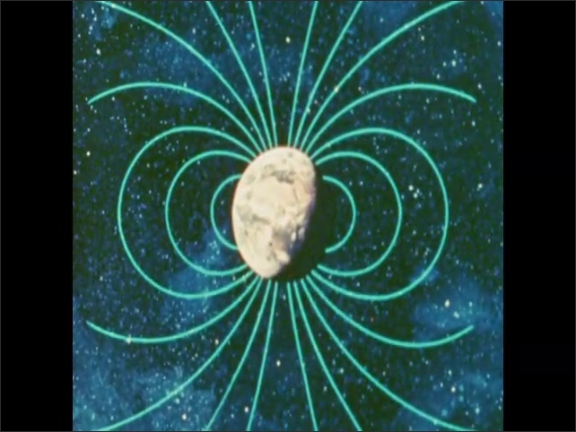 1970s: Animated lines of magnetic fields surrounding Earth in space. Red arrow points to magnetic fields around Earth.