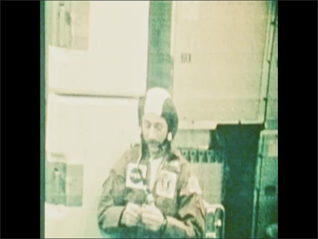 1970s: Astronaut talks on Skylab space station.