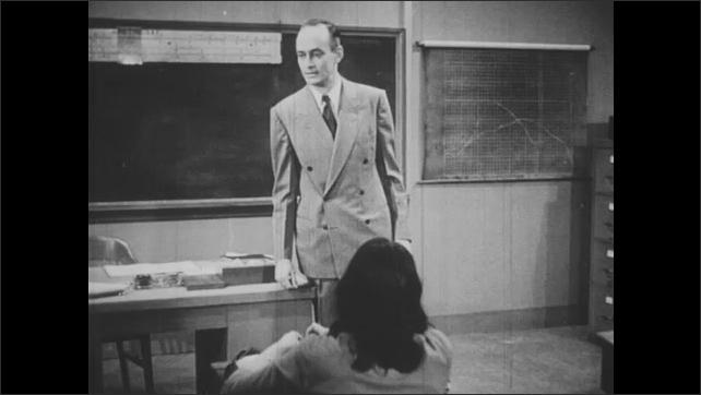 1940s: Teacher punishes students. Students look upset.