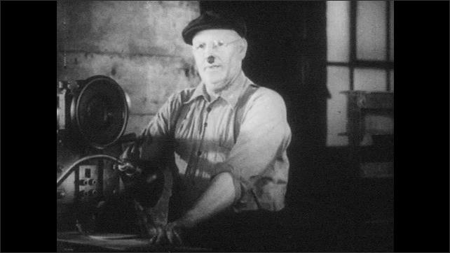 1940s: Man stands at machinery, thinks, operates machine.