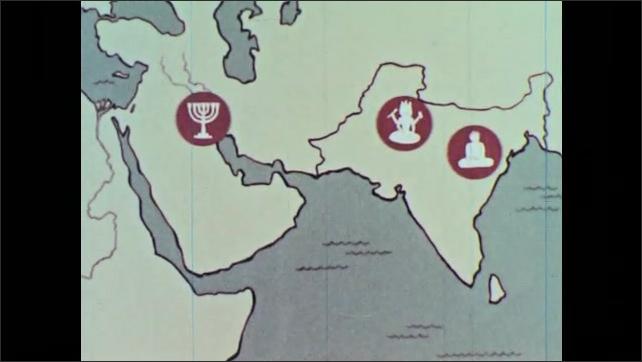 1960s: Cartoon map. Hindi symbol, Vishnu the Sun God on India map. Judaism symbol, menorah, on Middle East map. Buddhist symbol appears on India. Cross representing Christianity on Middle East map.
