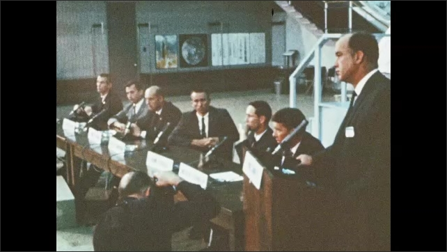 1960s: UNITED STATES: prime flight crew for first Apollo mission. NASA announces crews. Review and inspection of craft for manned mission