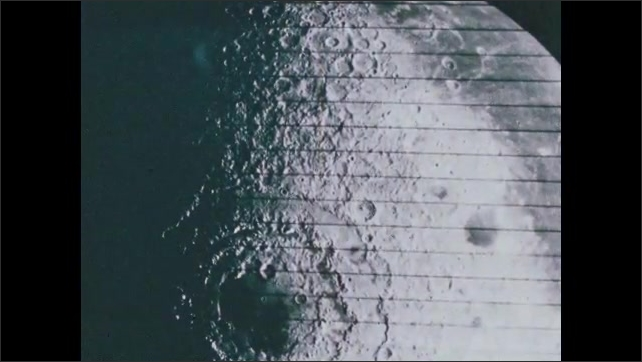 1960s: UNITED STATES: Lunar Orbiter Four photographs of moon's face. Close up of surface of moon