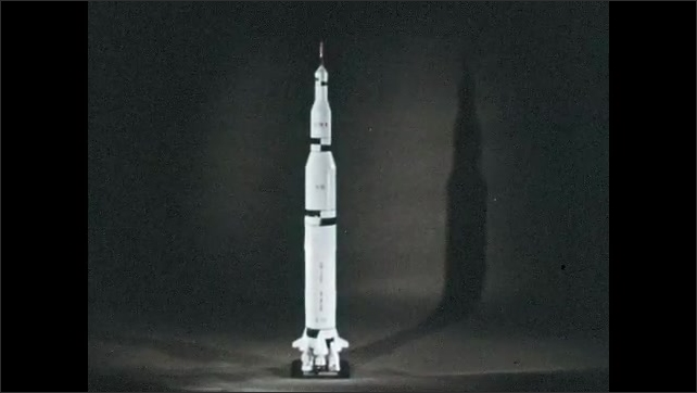 1960s: UNITED STATES: Stage building for Saturn Five. Configuration of Saturn 5. Model of Saturn Five