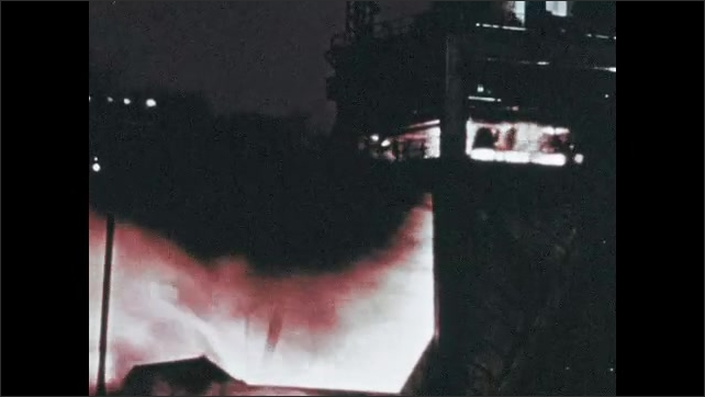 1960s: UNITED STATES: Saturn first stage testing. Firing of engines during test.