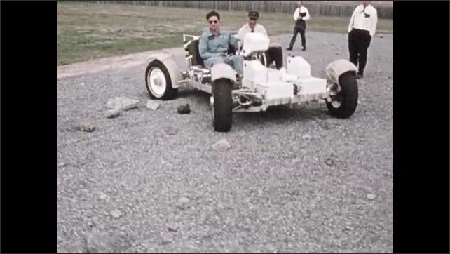 1960s: Men inside rocket prototype. Men test driving lunar rover on Earth. Test pilot in lunar lander on Earth.