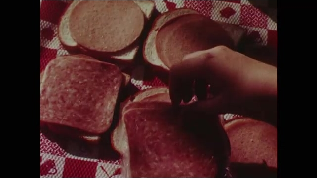 1960s: Family sits at picnic table in a park. Boy brings thermos to table. Woman makes sandwiches using multiple lunch meat slices.