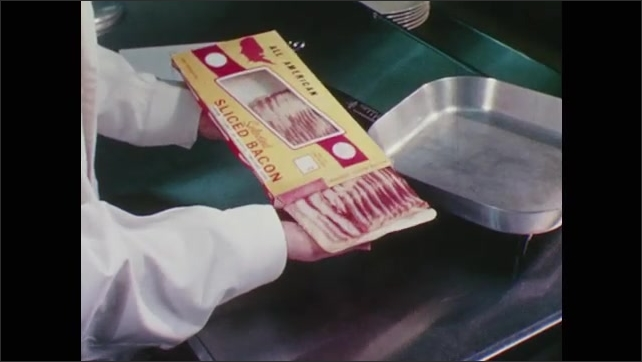 1960s: Inspector makes notes about a package of sliced bacon. Scientist places slices of bacon in an electric griddle.
