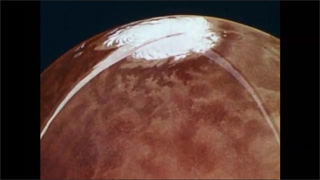 1970s: View of polar cap on Mars. Cross-section illustrating perma-frost on Mars.