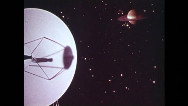 1970s: Satellite in space with Jupiter in background.