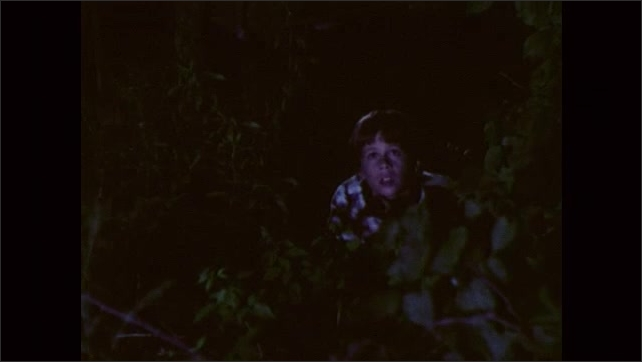 1980s: A boy wakes up, looks out the window, stands up and walks outside. A boy in torn pajamas stand in the bushes and talks to another boy, they look up.