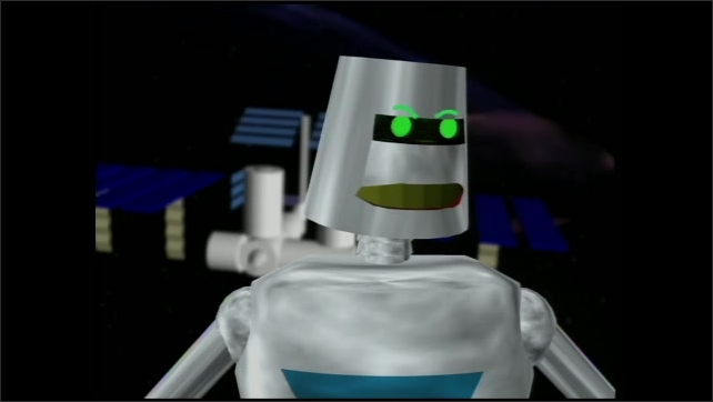 2000s:  Animated robot floats in front of the space station, smiling and talking. Robot picks up a remote and points it forward.