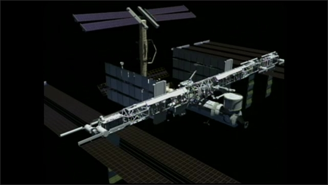 2000s: Computer animated clips of the Space Station being assembled and reassembled in different configurations.